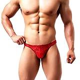 Arjen Kroos String Tanga para Hombre Ropa Interior Slip Sexy Thong Encaje Transparente G-String Erótica Calzoncillos