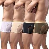 Laxier Pack de 4 Calzoncillos para Hombre con Malla Transparente Transparente para Hombre, WT-BK-NY-SK, XXL