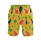 BONIPE Troncos de natación para Hombre con diseño de Oso de Koala Australiano y Palmera, Pantalones Cortos de Secado rápido con cordón y Bolsillos Multicolor Multicolor XL