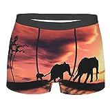 Calzoncillos tipo bóxer para hombre con siluetas de elefante africano, transpirables, suaves, sexy, para hombres y niños