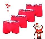 TrendyBoy Calzoncillos bóxer de algodón navideños para niños Ropa Interior 6-16 años Calzoncillos Paquete de 4 Color Rojo Colección Especial de año Nuevo (1340-Christmas Collection, 6-8 Years)