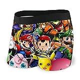 Super Smash Bros Kirby Pikachu Mario - Calzoncillos bóxer para hombre antibacterianos y transpirables, cómodos y suaves al tacto, dibujos animados y linda personalidad XL