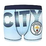 Manchester City FC - Calzoncillos oficiales de estilo bóxer - Para niños - Con el escudo del club - Azul - 9-10 años