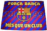 Fútbol Club Barcelona - Bandera del F.C. Barcelona con el escudo y el lema «Més que un club» - Dimensiones: 140 x 100 cm. - Diseño oficial del F.C. Barcelona
