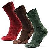 DANISH ENDURANCE Calcetines de Senderismo y Trekking de Lana Merina, Pack de 3 (Multicolor: Marrón, Verde, Rojo, EU 43-47)