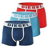 Diesel Pack de 3 o 2 calzoncillos tipo bóxer para hombre, de algodón elástico, fresco, brillante o Kory S, M, L y XL (S, azul/turquesa/rojo (3 unidades)