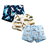 Qingzhuan Boys Boxers Calzoncillos de algodón Ropa Interior para niños Shorts Calzoncillos de Dibujos Animados Pantalones 3-4 años (Altura 96.52-106.68 cm) -Paquete de 3