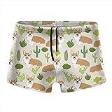 XCNGG Cute Dog and Cactus Calzoncillos Tipo bóxer de Secado rápido para Hombres Traje de baño Shorts Trunks Traje de baño-L
