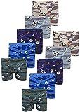 LOREZA ® 10 Calzoncillos para niños en algodón (140-146 (10-11 años),Camuflar el Espacio- Juego de 10)