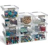 Citylife Juego de 10 cajas de almacenamiento de plástico pequeñas, apilables, con tapa y asas, para salón, dormitorio, cocina o cuarto de baño