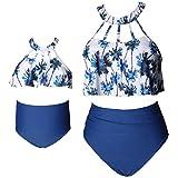 Traje de Baño para Familia Conjunto de Bikini Madre e Hija 2 Piezas sin Mangas con Hombros Descubiertos y Tirantes Calzoncillos con Estampado Floral (Azul-Mujer, M)