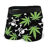 DPQZ Calzoncillos tipo bóxer para hombre, diseño de hojas de marihuana, calaveras, calavera, calaveras, calzoncillos