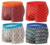 Sesto Senso® Bóxer Hombre Pack de 1, 2 o 4 Microfibra De Bambú Trunk con Forro Briefs Funky (XL, 4 Pack 5-8)
