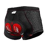 X-TIGER Hombres Ropa Interior de Bicicleta con 5D Gel Acolchado MTB Boxer Ciclismo Pantalones Cortos (Negro 2, L)
