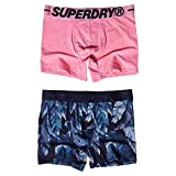 Superdry Boxer Double Pack, Rich Navy/Marne Pink, M para Hombre