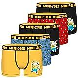 FREEGUN Minions Set de 5 Boxers en Talla Infantil, 100% algodón, de la colección Depicable Me, Pack de 5 T702-1, 4-5 años para Niños