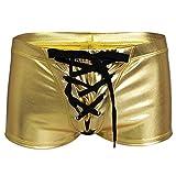 dPois Pantalones Cortos de Baño Hombre Bañador Atractivo Traje de Baño Boxeador Sexy Calzoncillos Cuero Cordón Ropa de Baño Natación Playa Dorado L