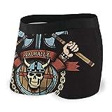 Lawenp Calzoncillos Tipo bóxer para Hombre Escudo de Armas Vikingo con hachas y Calavera en un Casco con Cuernos, Emblema de Valhalla,