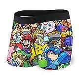 The Legend of Zelda Pikachu Super Mario Smash Bros Kirby Calzoncillos para hombre son antibacterianos y transpirables, cómodos y suaves al tacto, dibujos animados y linda personalidad M