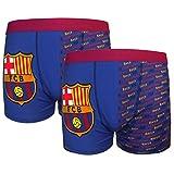 FC Barcelona - Pack de 2 calzoncillos oficiales de estilo bóxer - Para niños - Con el escudo del club - Azul - 7-8 años