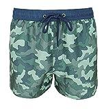 Evoga Bañador de hombre militar camuflaje camuflaje camuflaje calzoncillos bóxer cortos playa azul verde L