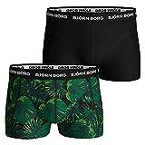 Bjorn Borg 2-Pack La Garden Print & Solid Men's Bóxer Trunks, Verde/Negro X-Grande
