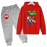 Aatensou Super Mario Bros Sudadera con capucha y pantalones de chándal 3D para niño con estampado de dibujos animados (Mario 8,150)
