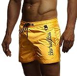 Leif Nelson Calzoncillos de baño Nadar Pantalones Cortos LN-9215 Amarillo Small
