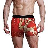 XiangHeFu Boxeador para Hombre Tarjeta de felicitación con Ciervos Brillantes Dorados y Calzoncillos Transpirables elásticos navideños