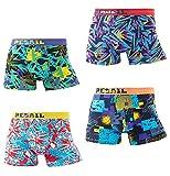 Pack de 4 calzoncillos tipo bóxer para hombre, coloridos y divertidos, estilo retro, Multicolor 2, L