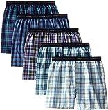 Calzoncillos Hanes tipo bóxer para hombre, con cintura elástica visible (5 unidades) Fashion Plaid X-Large