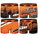 KTM Set 4pcs PK2614 Talla: L-Pack 4 Boxers Microfibra (92% poliéster-8% Elastano) -con los Colores característicos de la Marca Hombre