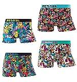 Pack de 4 calzoncillos tipo bóxer para hombre, coloridos y divertidos, estilo retro, Multicolor 3, L
