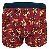 FC Barcelona - Calzoncillos oficiales de estilo bóxer - Para hombre - Con el escudo del club - Rojo - Medium